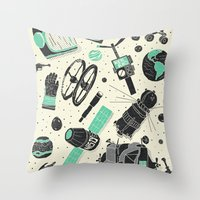 ashton irwin Throw Pillows featuring Space Funk by Josh Ln