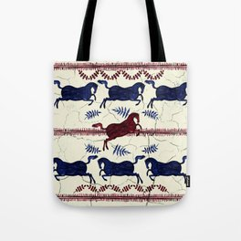 Ancient Greek Fresco - Navy & Red Tote Bag