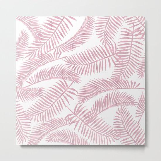 Palm Leaf Pattern Pink Metal Print
