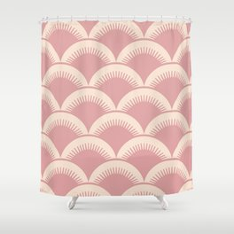 Japanese Fan Pattern Dusty Rose 2 Shower Curtain