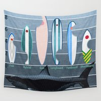 surfboard Wall Tapestries featuring Shark Week - A balanced diet is essential  by milanova