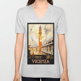 Vintage Vicenza Italy Travel Unisex V-Neck