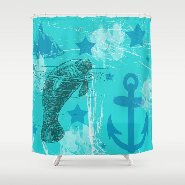 Manatee Shower Curtain By Judyskowron