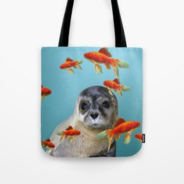 Goldfish with sea lion Baby Tote Bag