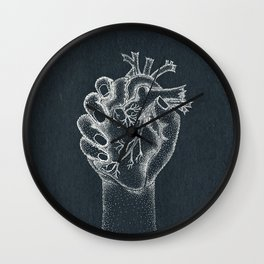 Fix your hearts or die- white on black Wall Clock