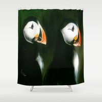 puffin Shower Curtains featuring PUFFIN PARADE by FOXART  - JAY PATRICK FOX
