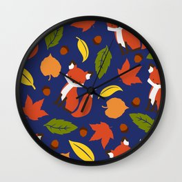 Fox Jumble - Blue Wall Clock