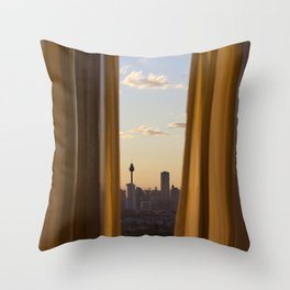 Sneaky City Sunset Throw Pillow