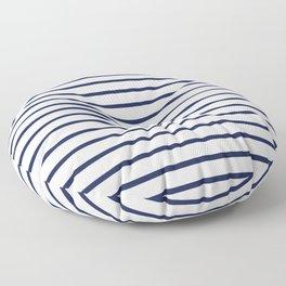 Horizontal Navy Blue Stripes Pattern Floor Pillow