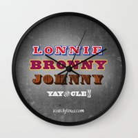 lebron Wall Clocks featuring Lonnie, Bronny, Johnny by Melissa Olson