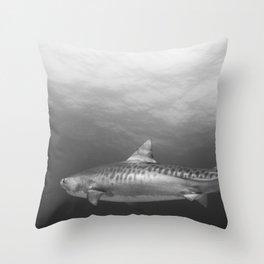 Tiger Shark, Black & White Throw Pillow