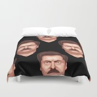 ron swanson Duvet Covers featuring Swanson by Skeleton Jack