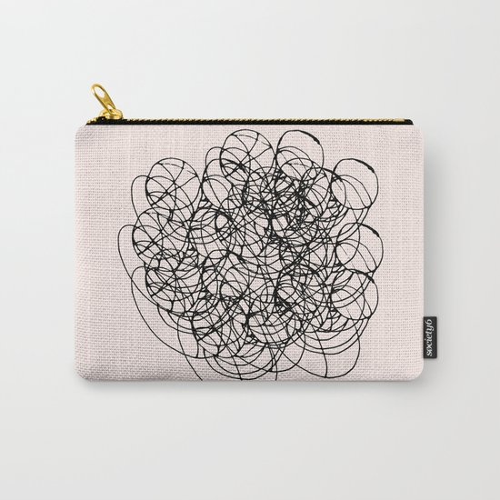 Black Circle Lines on Pink Carry-All Pouch