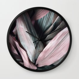 Pink Plant Leaves Wall Clock