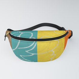 Chinese Flowers & Stripes - Orange Yellow Turquoise Brown Fanny Pack