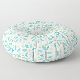 Watercolour Daisy Pattern | Mint and Orange Floor Pillow