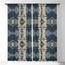 Indigo Triangles Blackout Curtain