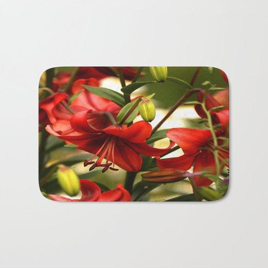 Red Lilies  Bath Mat
