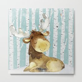 Winter Woodland Friends Deer Moose Snowy Forest Illustration Metal Print