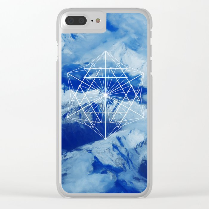Mountains, Clouds and Geometry Clear iPhone Case