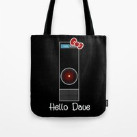 dave matthews Tote Bags featuring Hello Dave by Nick Dennis