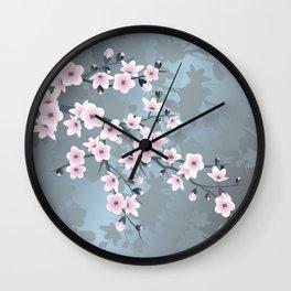 Dusky Pink Grayish Blue Cherry Blossom Wall Clock