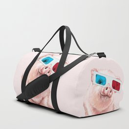 Baby Pink Pig Wear Glasses Pink Duffle Bag