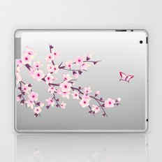 Cherry Blossoms Pink Gray Laptop & iPad Skin