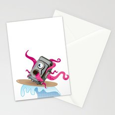 Monster Camera Surfing Stationery Cards
