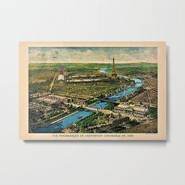 1910 Paris France French Cityscape Map Metal Print