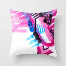 Blue, Pink and Black Throw Pillow