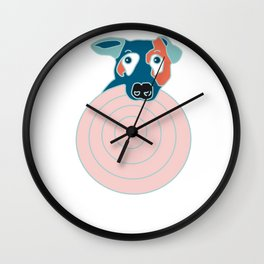 Jack Russel terrier with frisbee Wall Clock