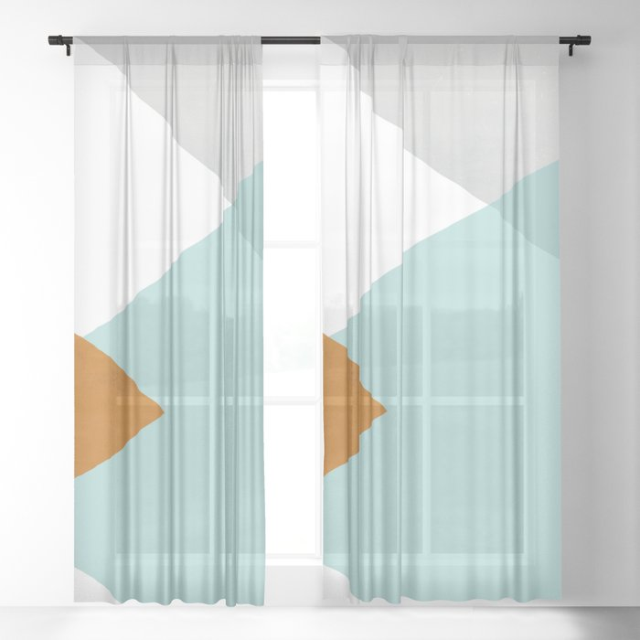Geometrics - aqua & orange concrete Sheer Curtain