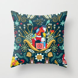 Technological folk art Throw Pillow