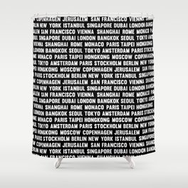 Famous City pattern black & White Shower Curtain