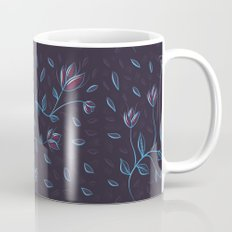 Abstract Glowing Blue Flowers Mug