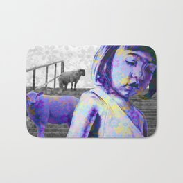 The jeremy girl and the sheeps - flower version - purple Bath Mat