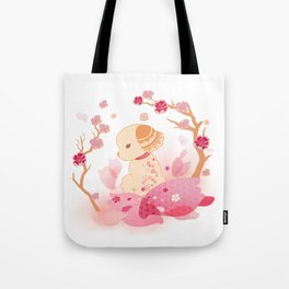 Sweet minimalist dog sakura Tote Bag