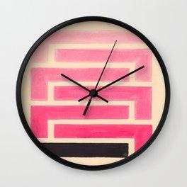 Pink Ombre Geometric Pattern Wall Clock