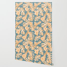 Island Hibiscus Palm Coral Teal Blue Wallpaper