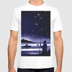 45° southern latitude. Crux australis. MEDIUM Mens Fitted Tee White