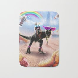 Pug Riding Dinosaur With Chicken Nuggets And Cola Bath Mat