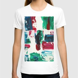 Jingle all the way green blue red white acrylic abstract brushstrokes christmas pattern T-shirt