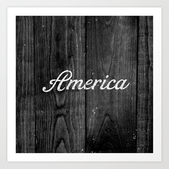 Black and White Patriotic Vintage America USA Wood Art Print