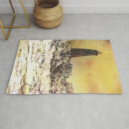 Watercolor painting of Old Baldy Lighthouse on Bald Head Island- North Carolina Rug