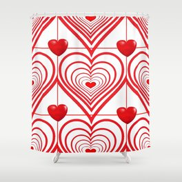 ABSTRACT PATTERN OF RED-WHITE VALENTINE HEARTS Shower Curtain