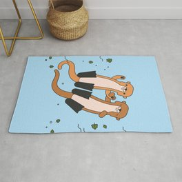 Adorable Otters Blue Sea Rug