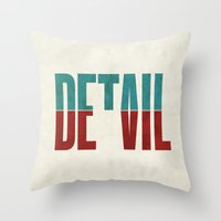 positive Throw Pillows featuring Devil in the detail. by David