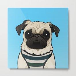 Doug the Pug - Blue BG Metal Print