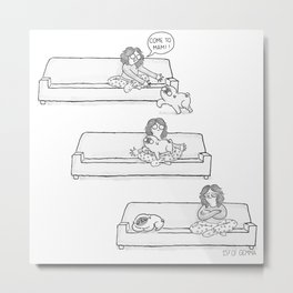 being ignored by a pug Metal Print